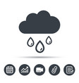 cloud with rain drops icon rainy day sign vector image
