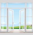 door with window to the terrace vector image