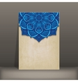 grunge paper card with blue floral circular vector image