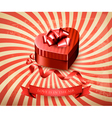 Heart-shaped gift box on retro background vector image