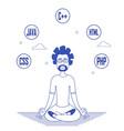 programmer in glasses sitting in meditation vector image