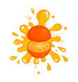 sliced ripe orange juice splashing colorful fresh vector image
