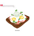 Smorrebrod with fried egg the national dish of de vector image