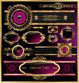 vintage black gold and pink frame label vector image