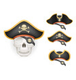 skull with pirate hats set realistic head isolated vector image vector image
