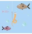cartoon of a worm on a hook vector image