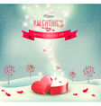 Valentines day background with an open red gift vector image vector image