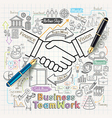 Business teamwork concept doodles icons set vector image vector image