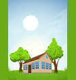 rural summer landscape with house vector image