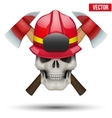 Human skull with firefighter helmet vector image