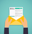 Hands holding mail with Paying bills Payment of vector image