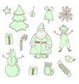 fun christmas icons with a boy vector image