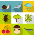Flora icons set flat style vector image