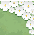 Vintage floral background with 3d flower vector image