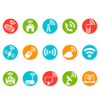 wireless commuication button icons set vector image vector image