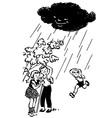 children hiding from rain under tree vector image
