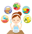 Girl Five Groups Food Eat vector image