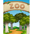 Scene with zoo and trees vector image