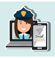 laptop user with social networking smartphone vector image