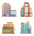 Flat design of retro and modern city houses old vector image