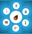 flat icon food set of bottle beef canned chicken vector image