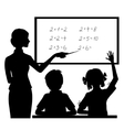 Silhouette of teacher at blackboard with children vector image