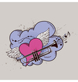 heart trumpets vector image vector image