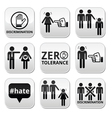 Stop discrimination of men and women buttons set vector image vector image