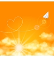 Love travel concept a paper plane flying in the vector image vector image
