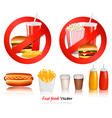 ast food danger labels vector image vector image