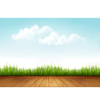 Nature background with a wooden deck vector image