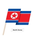 North Korea Ribbon Waving Flag Isolated on White vector image