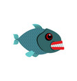 piranha isolated see predatory fish on white vector image