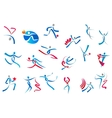 Sportive and dancing people icons vector image