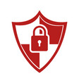 color silhouette of shield with padlock vector image