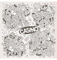 Sketchy doodles cartoon set of casino vector image