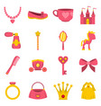 doll princess items icons set in flat style vector image