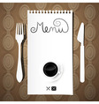 Paper Restaurant Menu with Knife Fork and Coffee vector image