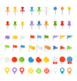 Navigation pins flags and insignias collection vector image vector image