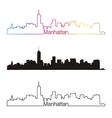 Manhattan skyline linear style with rainbow vector image