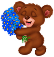 Cute little bear holding a bouquet vector image