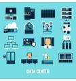 Flat Icon Datacenter Icon Set vector image