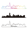Manhattan skyline linear style with rainbow vector image