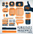 Set orange elements for web design vector image