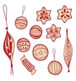 Set of holiday doodle balls and sweets vector image