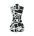 dark sewing icons set vector image