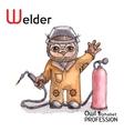Alphabet professions Owl Letter W - Welder vector image