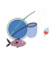 cartoon sign for fishing club vector image