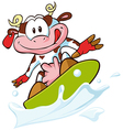 cow surfing vector image