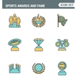 Icons line set premium quality of awards and fame vector image